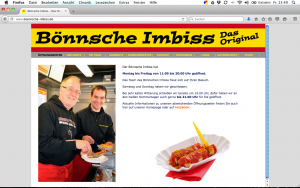 Bönnsche Imbiss, Bonn; Logoentwicklung, Homepage, Anhängerbeschriftung, Geschä#ftsdrucksachen, Schilder, Preistafeln