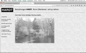 Hardt-Bestattungen, Bonn; Homepage, Fotos, Geschäftsdrucksachen, Fahrzeugbeschriftung, Werbetafeln