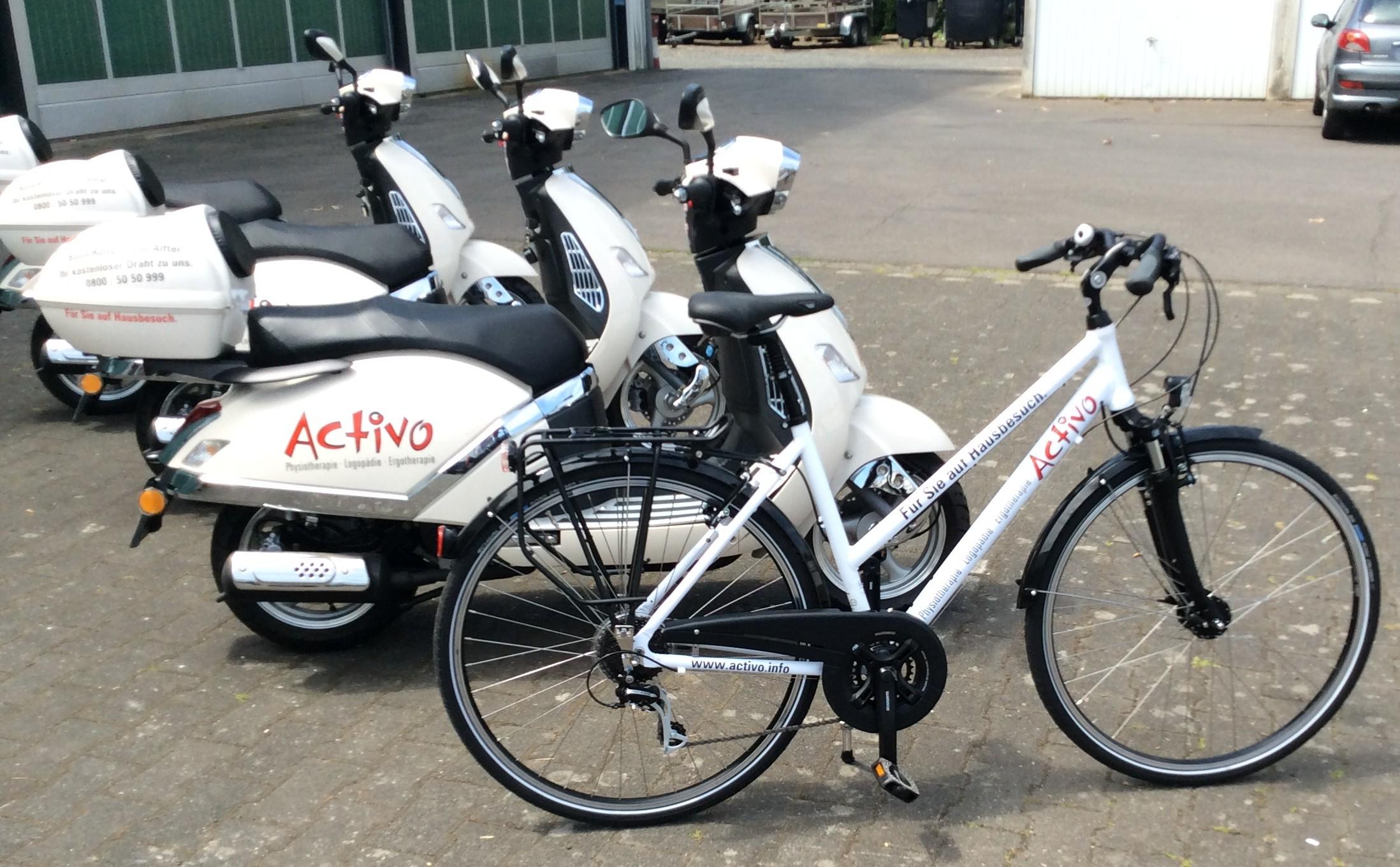 Motorroller, Fahrrad; Folienbeschriftung